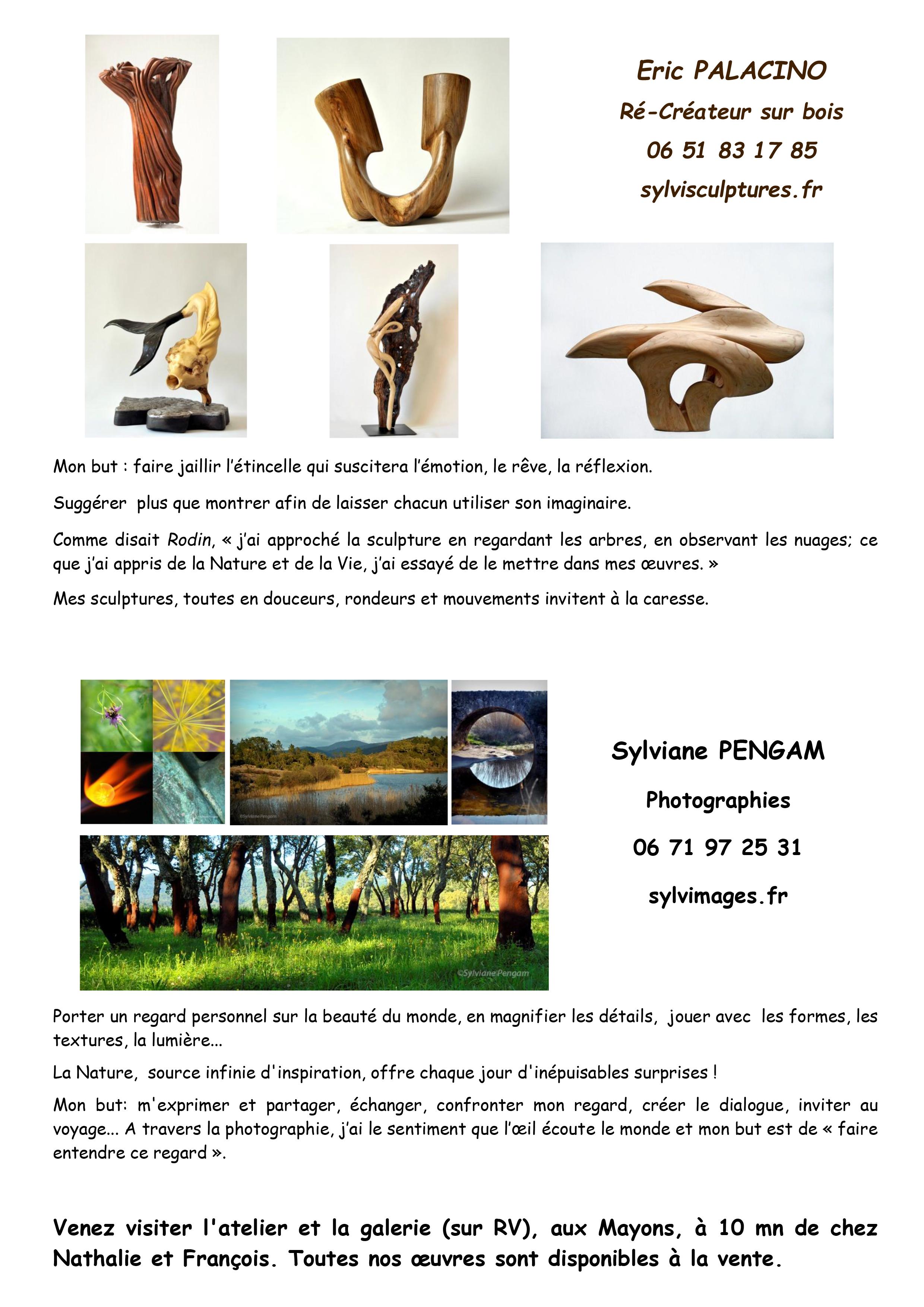 Sylviane Pengam photographe et Eric Palacino sculpteur ré-créateur sur bois dans le Var Cote d'Azur